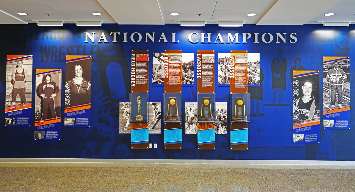 Gettysburg College National Championship showcase wall