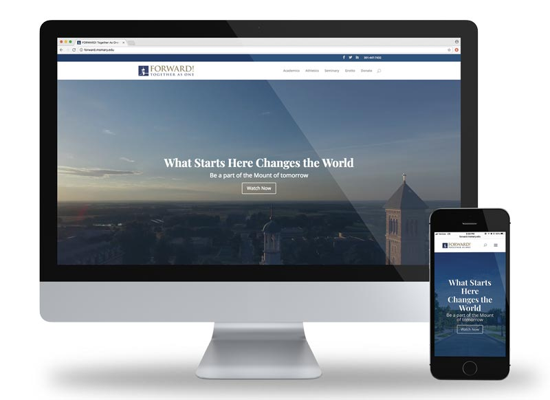 Mount St. Mary's University Capital Campaign website desktop and mobile