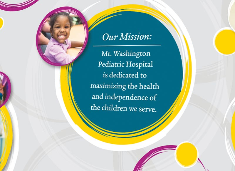 mwph wall graphics with mission statement and patient photos