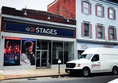 new spire arts stages signage by Graphcom