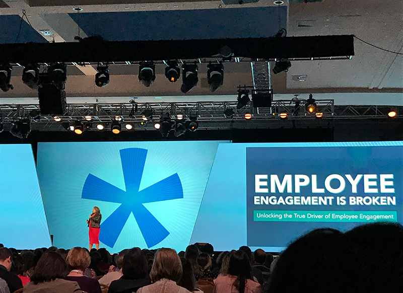 speaker discussing employee engagement at workhuman event