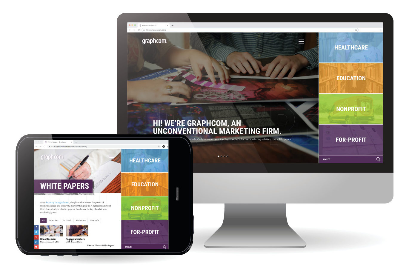 graphcom marketing agency website and mobile view
