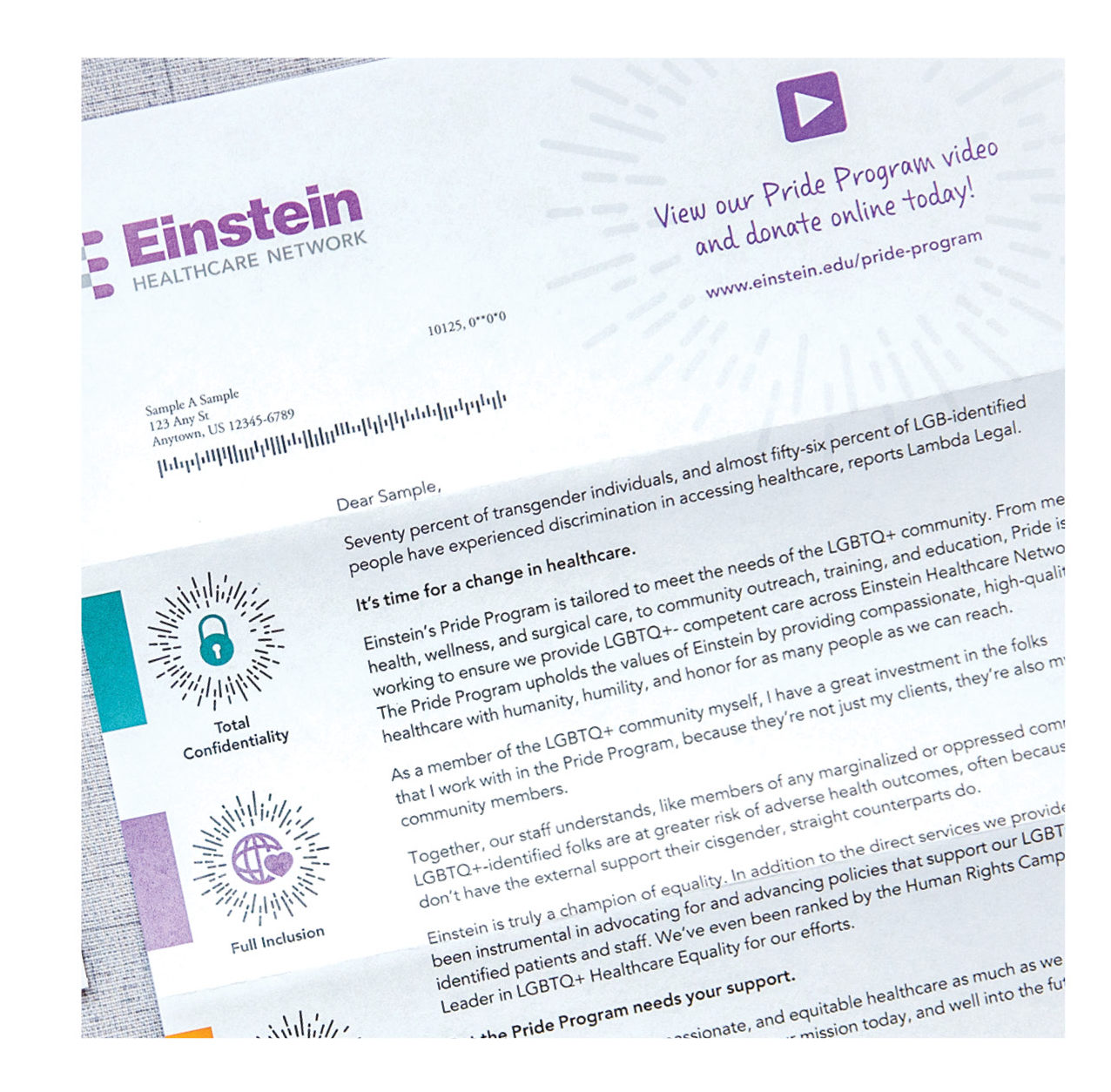 einstein healthcare network appeal letter with variable data