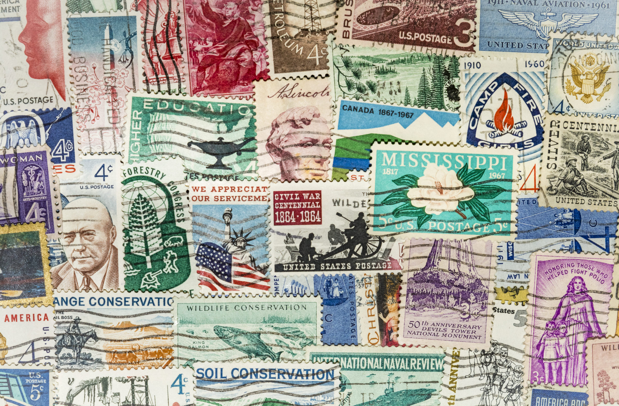 vintage postage stamp collection
