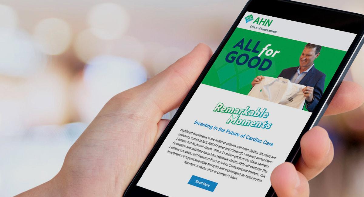 all for good ahn e-newsletter on mobile view
