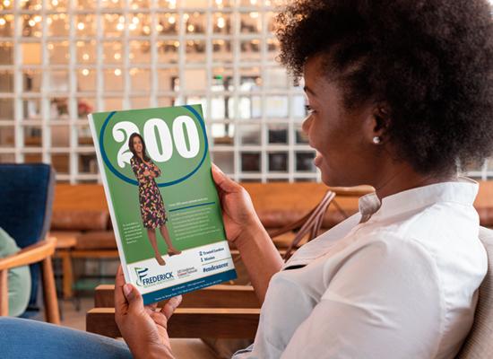 Frederick Health's MD Anderson campaign on a magazine