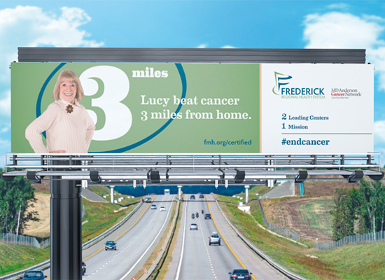Frederick Health's MD Anderson campaign on a billboard