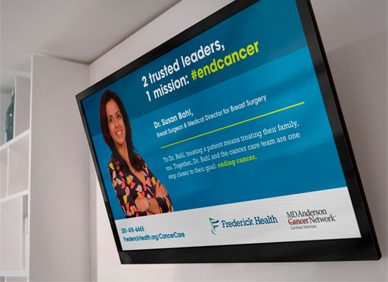 Frederick Health's MD Anderson campaign on a screen