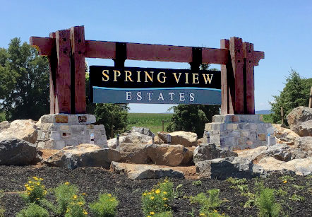 Sign, Monument, Wood, Masonry, Engraved, Painted, Gold Leaf, Roadside, Post & Panel, Externally Lit