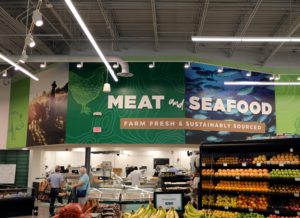 meat and seafood wall sign